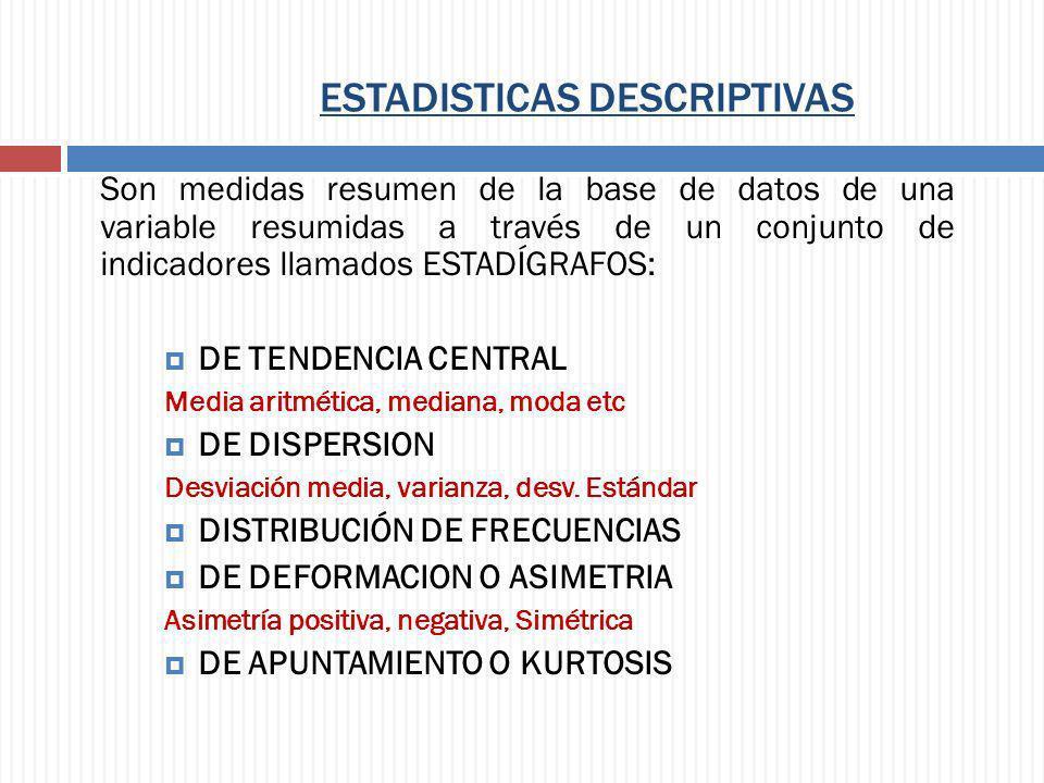 ESTADISTICAS DESCRIPTIVAS Son medidas resumen de la base de datos de una variable resumidas a través de un conjunto de indicadores llamados ESTADÍGRAF