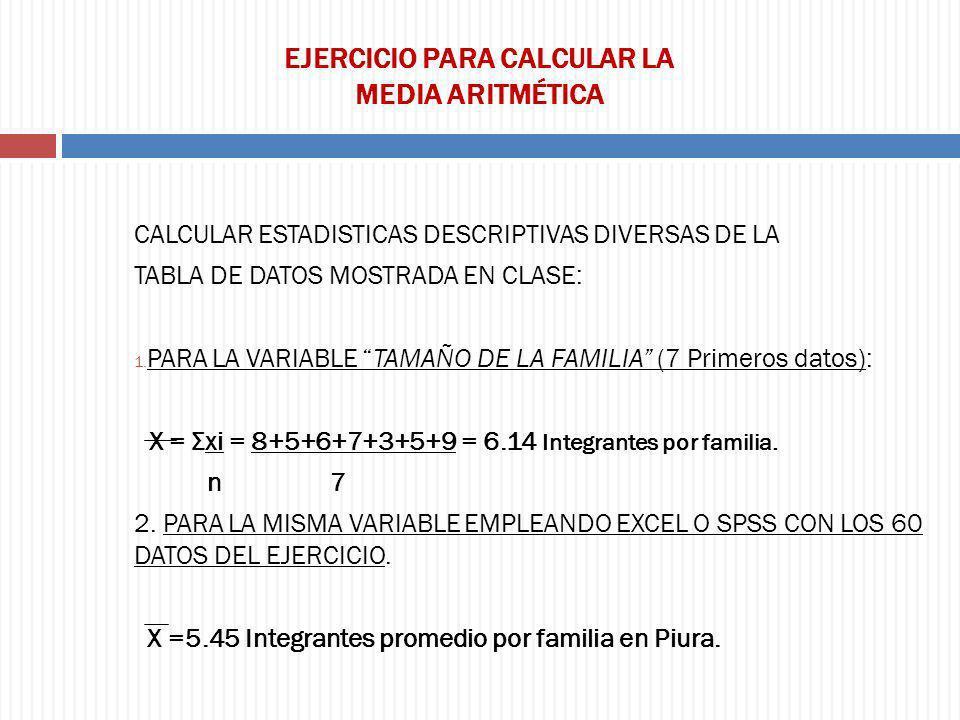 EJERCICIO PARA CALCULAR LA MEDIA ARITMÉTICA CALCULAR ESTADISTICAS DESCRIPTIVAS DIVERSAS DE LA TABLA DE DATOS MOSTRADA EN CLASE: 1. PARA LA VARIABLE TA