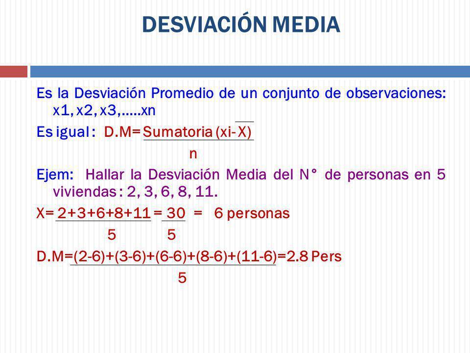 DESVIACIÓN MEDIA Es la Desviación Promedio de un conjunto de observaciones: x1, x2, x3,.....xn Es igual : D.M= Sumatoria (xi- X) n Ejem: Hallar la Des