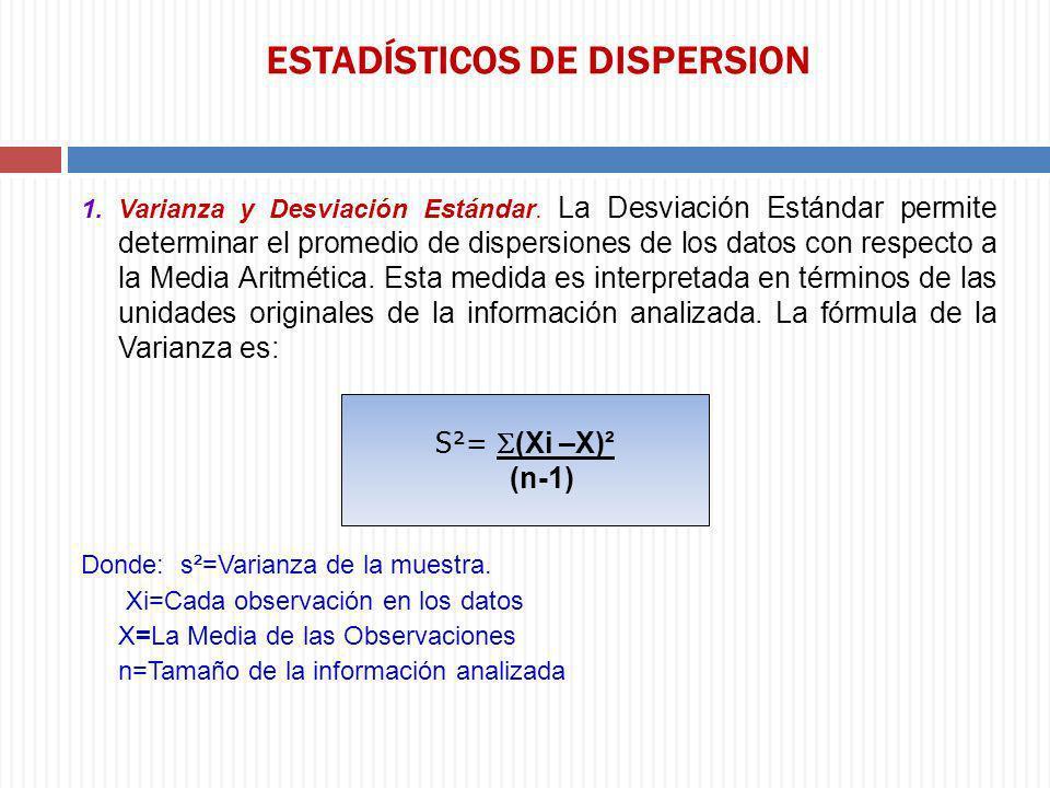 ESTADÍSTICOS DE DISPERSION 1. Varianza y Desviación Estándar. La Desviación Estándar permite determinar el promedio de dispersiones de los datos con r