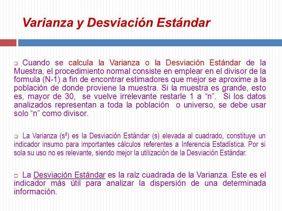 Varianza y Desviación Estándar Cuando se calcula la Varianza o la Desviación Estándar de la Muestra, el procedimiento normal consiste en emplear en el