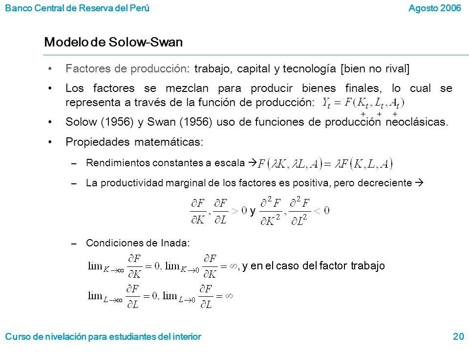Banco Central de Reserva del Perú Curso de nivelación para estudiantes del interior Agosto 2006 20 Modelo de Solow-Swan Factores de producción: trabajo, capital y tecnología [bien no rival] Los factores se mezclan para producir bienes finales, lo cual se representa a través de la función de producción: Solow (1956) y Swan (1956) uso de funciones de producción neoclásicas.