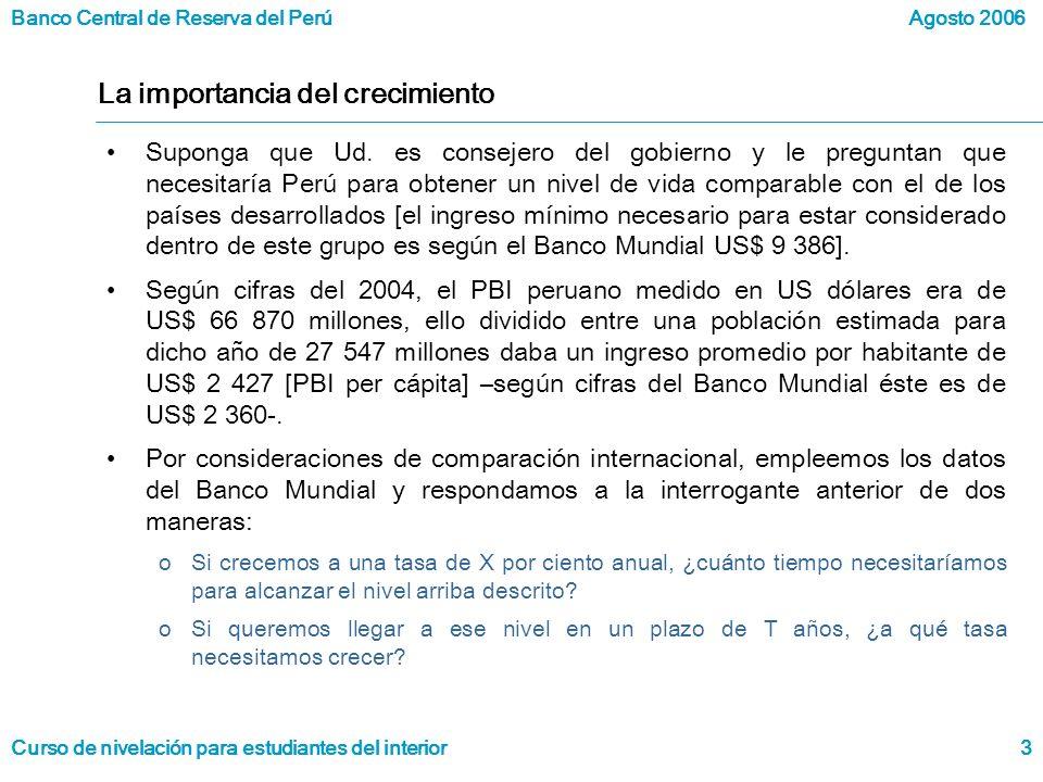 Banco Central de Reserva del Perú Curso de nivelación para estudiantes del interior Agosto 2006 3 La importancia del crecimiento Suponga que Ud.