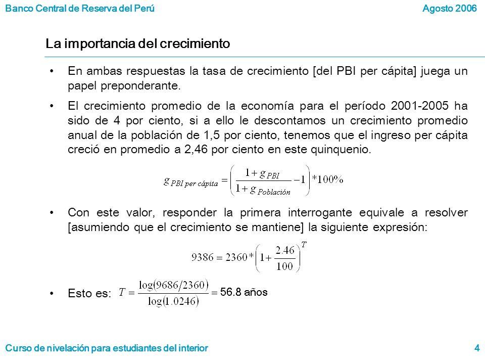 Banco Central de Reserva del Perú Curso de nivelación para estudiantes del interior Agosto 2006 4 La importancia del crecimiento En ambas respuestas la tasa de crecimiento [del PBI per cápita] juega un papel preponderante.