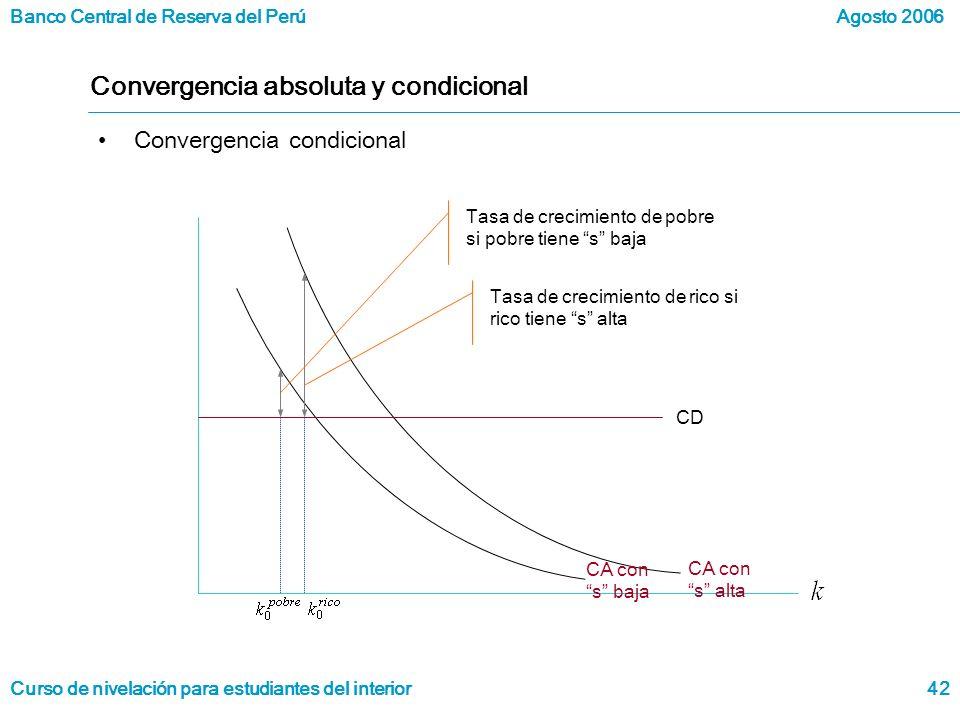Banco Central de Reserva del Perú Curso de nivelación para estudiantes del interior Agosto 2006 42 Convergencia absoluta y condicional Convergencia condicional CD Tasa de crecimiento de pobre si pobre tiene s baja Tasa de crecimiento de rico si rico tiene s alta CA con s baja CA con s alta
