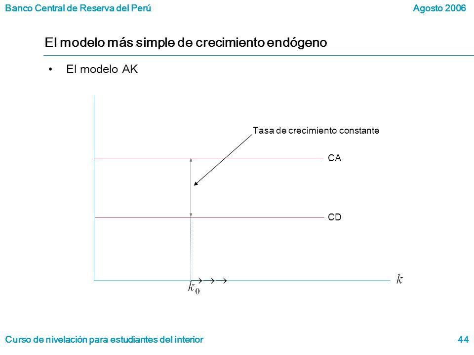 Banco Central de Reserva del Perú Curso de nivelación para estudiantes del interior Agosto 2006 44 El modelo más simple de crecimiento endógeno El modelo AK Tasa de crecimiento constante CA CD