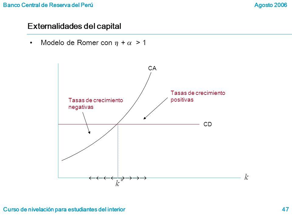 Banco Central de Reserva del Perú Curso de nivelación para estudiantes del interior Agosto 2006 47 Externalidades del capital Modelo de Romer con + > 1 CD Tasas de crecimiento positivas CA Tasas de crecimiento negativas