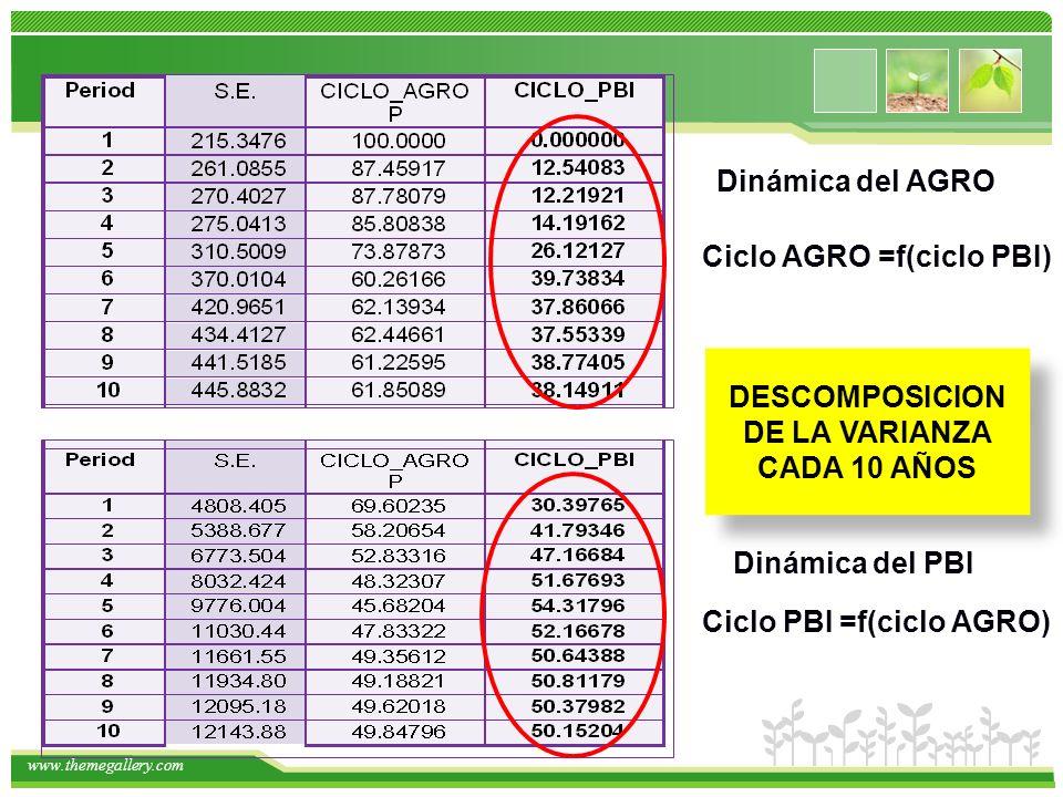 www.themegallery.com Ciclo PBI =f(ciclo AGRO) DESCOMPOSICION DE LA VARIANZA CADA 10 AÑOS Dinámica del PBI Dinámica del AGRO Ciclo AGRO =f(ciclo PBI)