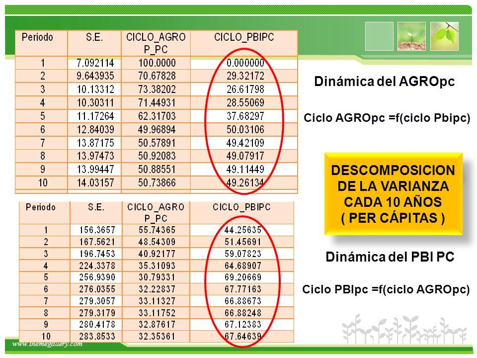 www.themegallery.com DESCOMPOSICION DE LA VARIANZA CADA 10 AÑOS ( PER CÁPITAS ) DESCOMPOSICION DE LA VARIANZA CADA 10 AÑOS ( PER CÁPITAS ) Ciclo AGROpc =f(ciclo Pbipc) Dinámica del PBI PC Ciclo PBIpc =f(ciclo AGROpc) Dinámica del AGROpc