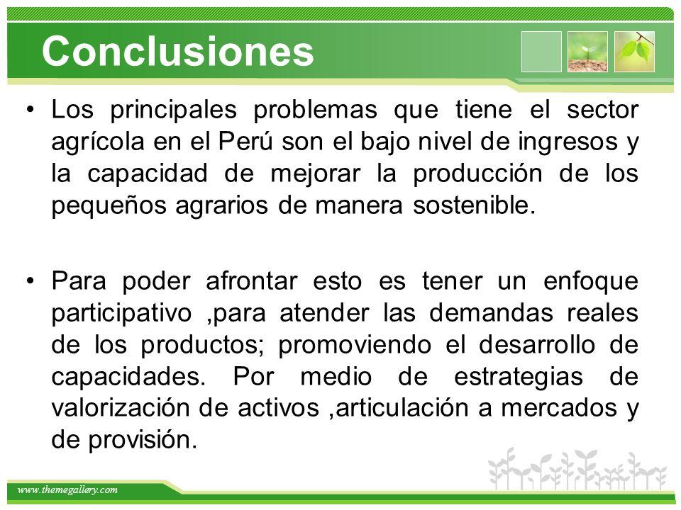 www.themegallery.com Los principales problemas que tiene el sector agrícola en el Perú son el bajo nivel de ingresos y la capacidad de mejorar la producción de los pequeños agrarios de manera sostenible.
