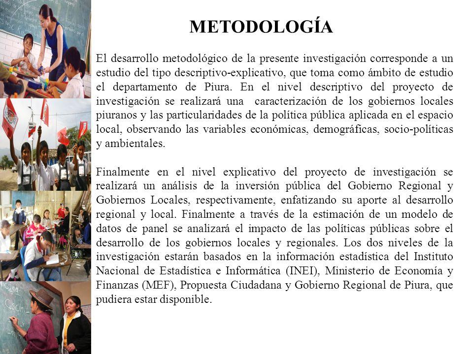 METODOLOGÍA El desarrollo metodológico de la presente investigación corresponde a un estudio del tipo descriptivo-explicativo, que toma como ámbito de