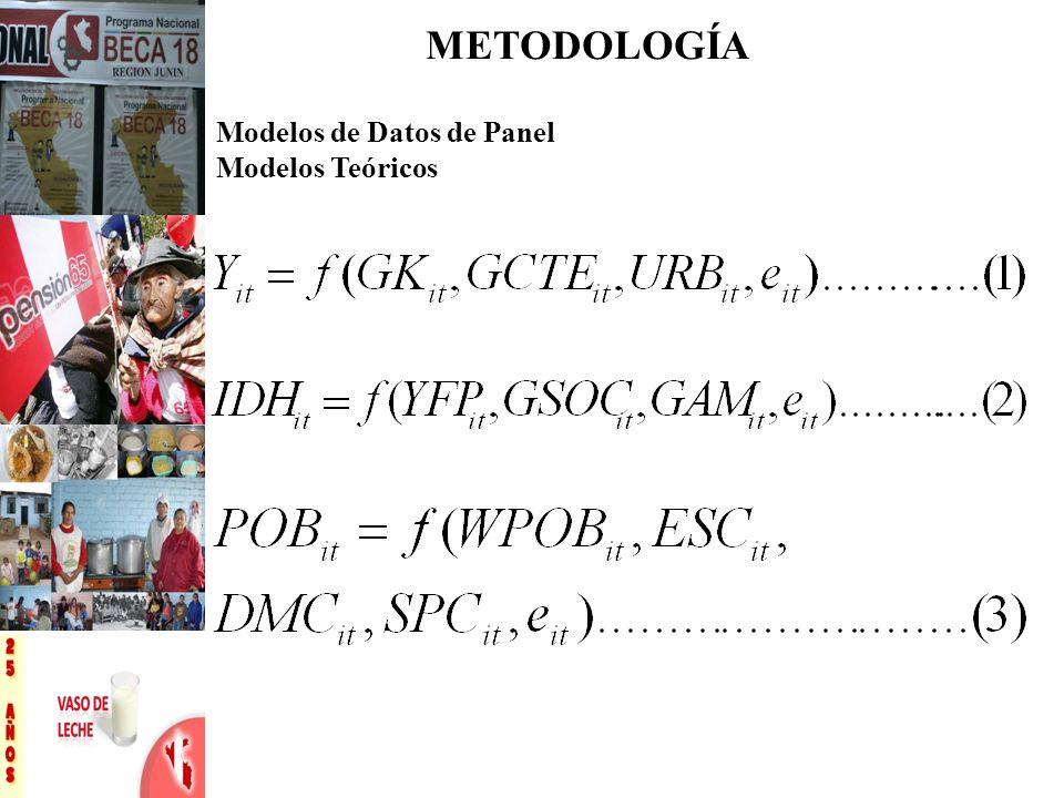 METODOLOGÍA Modelos de Datos de Panel Modelos Teóricos