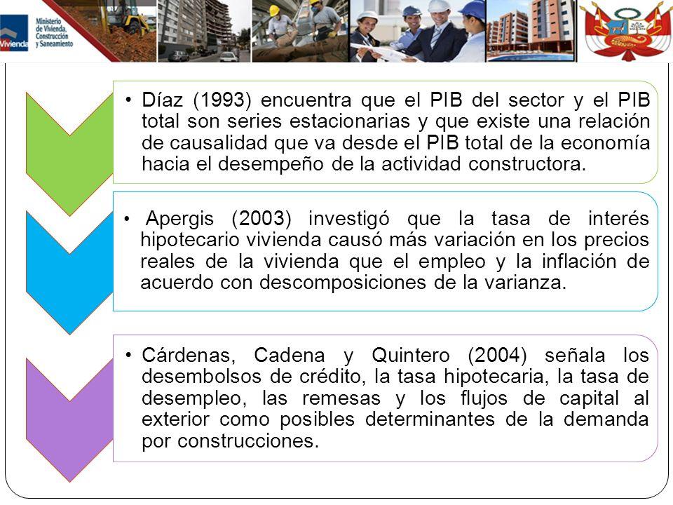 Díaz (1993) encuentra que el PIB del sector y el PIB total son series estacionarias y que existe una relación de causalidad que va desde el PIB total