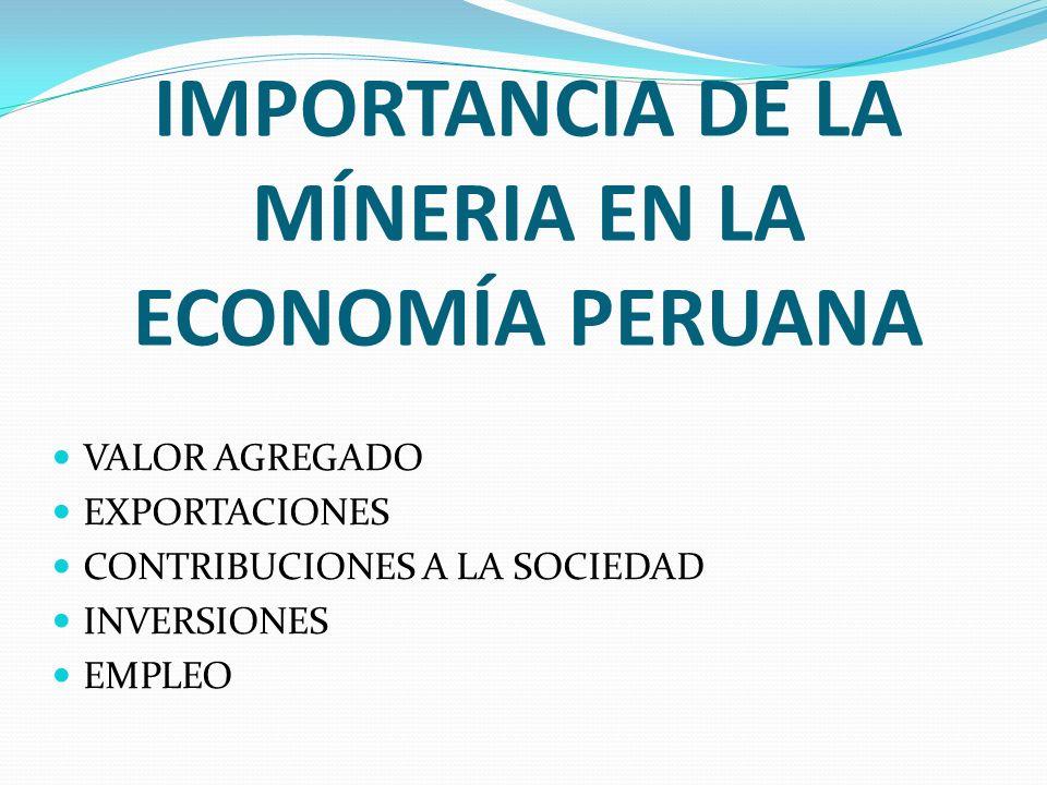 IMPORTANCIA DE LA MÍNERIA EN LA ECONOMÍA PERUANA VALOR AGREGADO EXPORTACIONES CONTRIBUCIONES A LA SOCIEDAD INVERSIONES EMPLEO