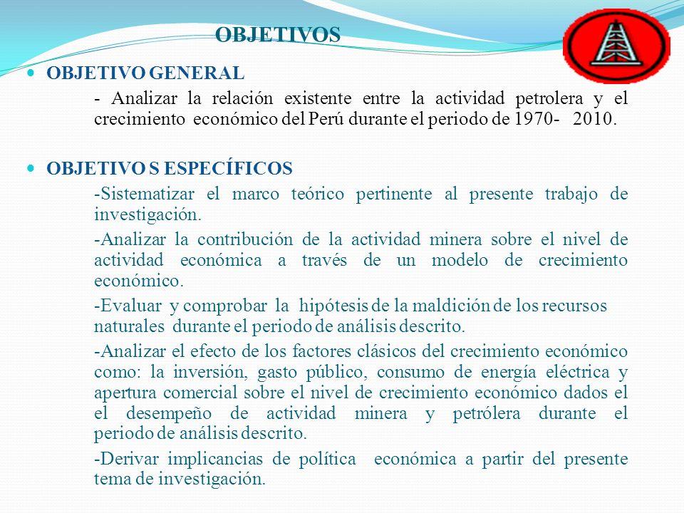 OBJETIVOS OBJETIVO GENERAL - Analizar la relación existente entre la actividad petrolera y el crecimiento económico del Perú durante el periodo de 197