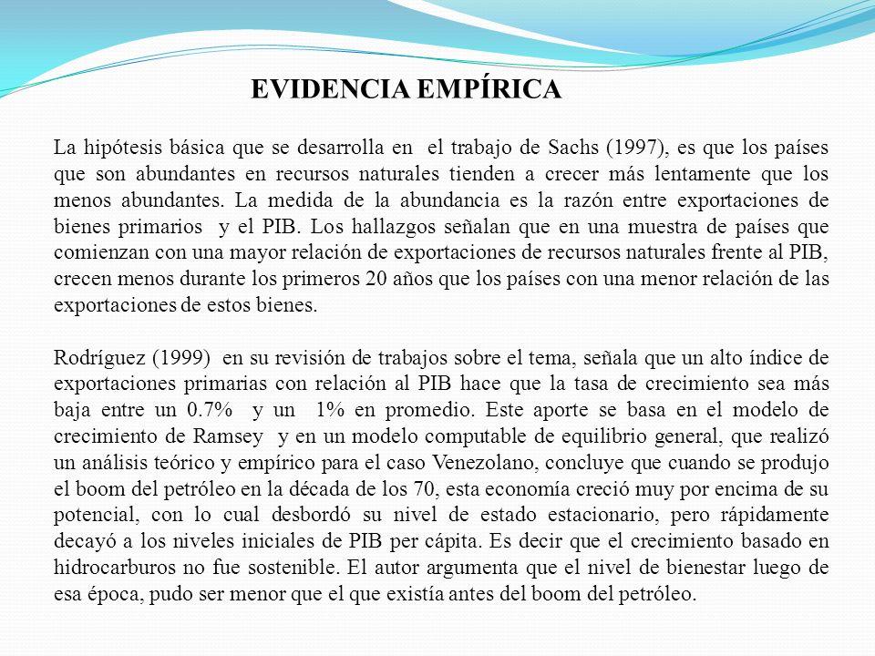 La hipótesis básica que se desarrolla en el trabajo de Sachs (1997), es que los países que son abundantes en recursos naturales tienden a crecer más l
