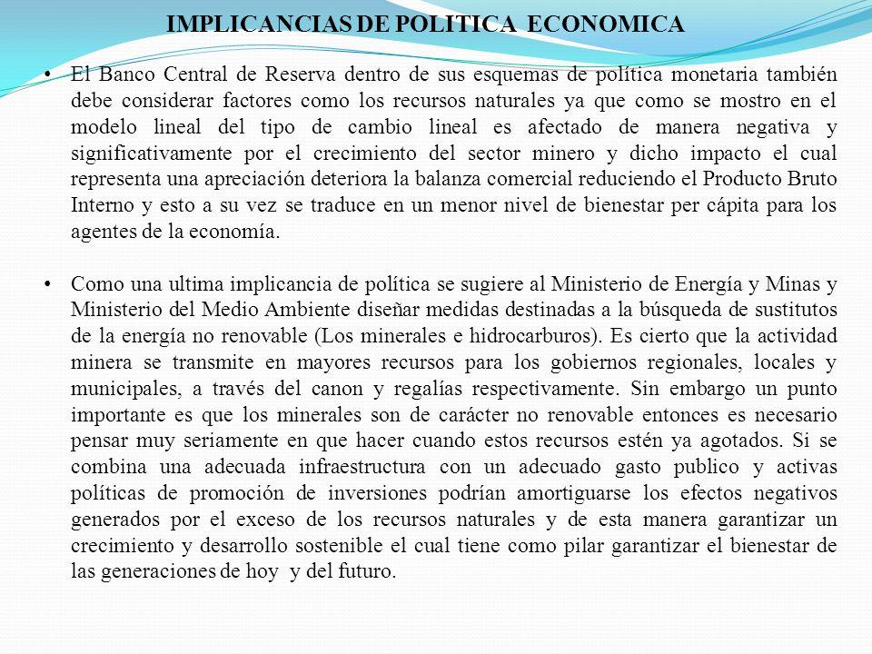 IMPLICANCIAS DE POLITICA ECONOMICA El Banco Central de Reserva dentro de sus esquemas de política monetaria también debe considerar factores como los