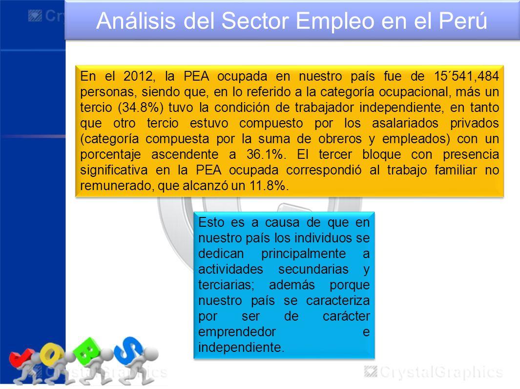 Análisis del Sector Empleo en el Perú En el 2012, la PEA ocupada en nuestro país fue de 15´541,484 personas, siendo que, en lo referido a la categoría