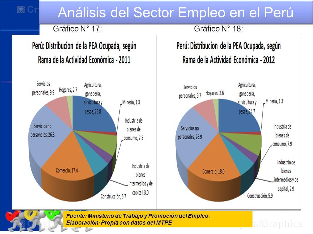 Análisis del Sector Empleo en el Perú Fuente: Ministerio de Trabajo y Promoción del Empleo. Elaboración: Propia con datos del MTPE Gráfico N° 17:Gráfi
