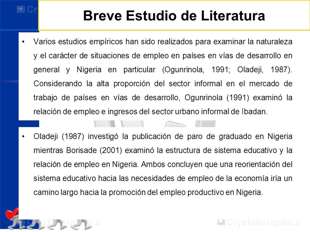 Breve Estudio de Literatura Varios estudios empíricos han sido realizados para examinar la naturaleza y el carácter de situaciones de empleo en países