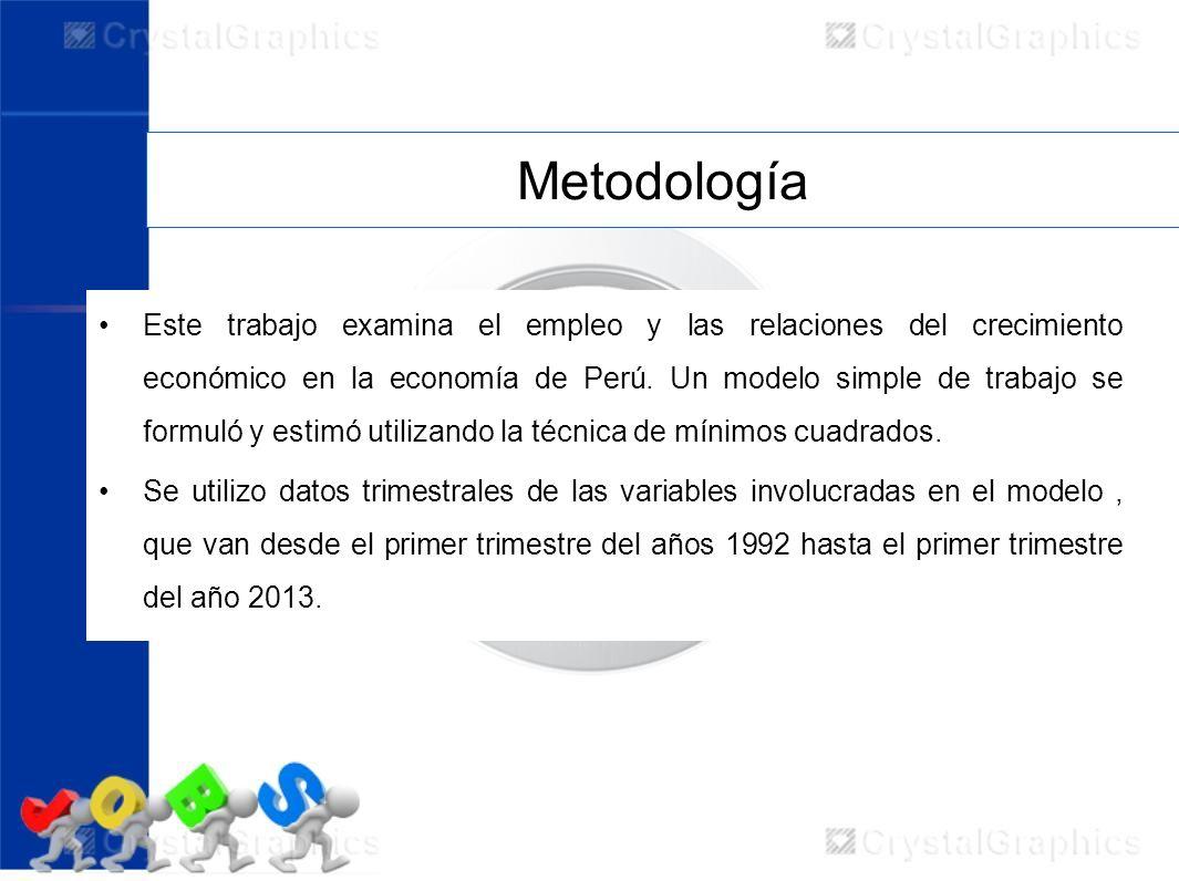 Metodología Este trabajo examina el empleo y las relaciones del crecimiento económico en la economía de Perú. Un modelo simple de trabajo se formuló y