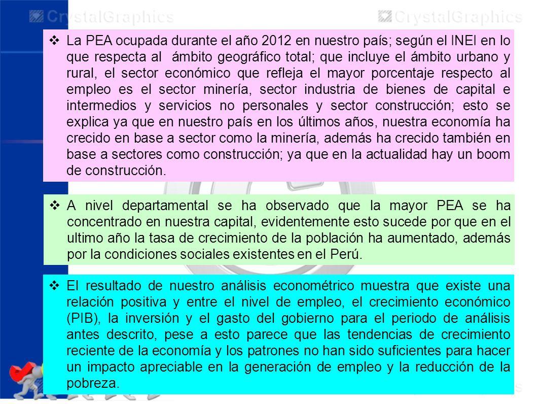 La PEA ocupada durante el año 2012 en nuestro país; según el INEI en lo que respecta al ámbito geográfico total; que incluye el ámbito urbano y rural,
