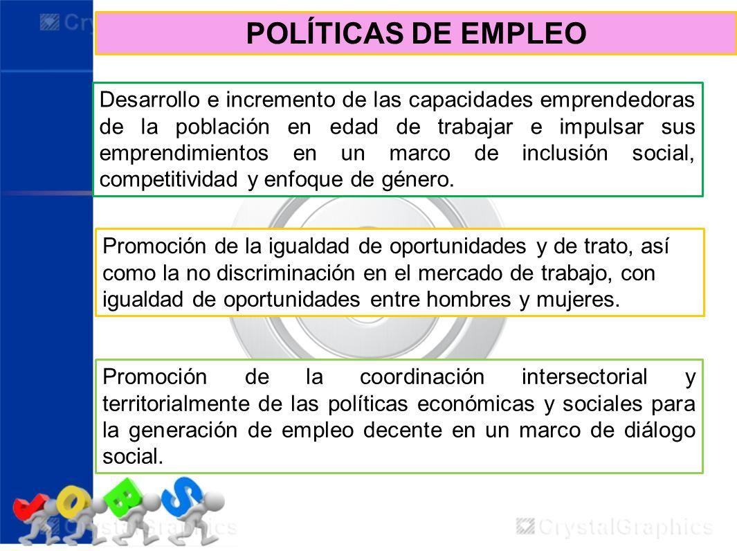 POLÍTICAS DE EMPLEO Promoción de la coordinación intersectorial y territorialmente de las políticas económicas y sociales para la generación de empleo