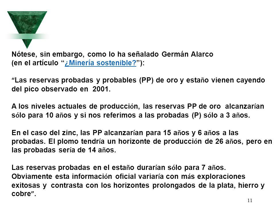 11 Nótese, sin embargo, como lo ha señalado Germán Alarco (en el artículo ¿Minería sostenible?):¿Minería sostenible? Las reservas probadas y probables