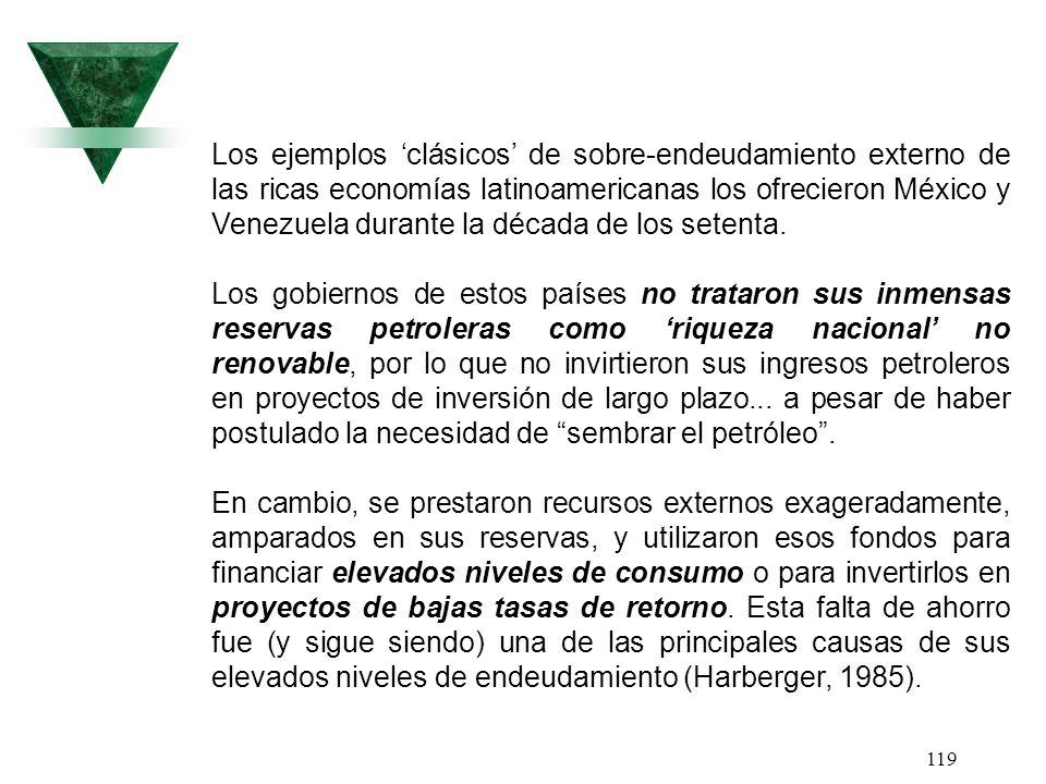 119 Los ejemplos clásicos de sobre-endeudamiento externo de las ricas economías latinoamericanas los ofrecieron México y Venezuela durante la década d