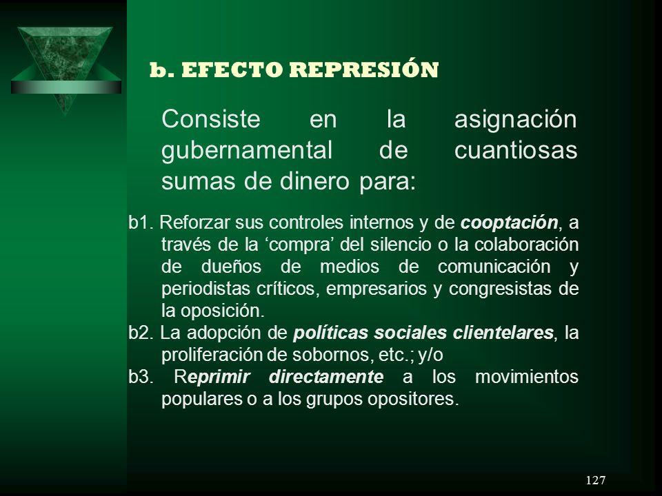 127 b. EFECTO REPRESIÓN Consiste en la asignación gubernamental de cuantiosas sumas de dinero para: b1. Reforzar sus controles internos y de cooptació