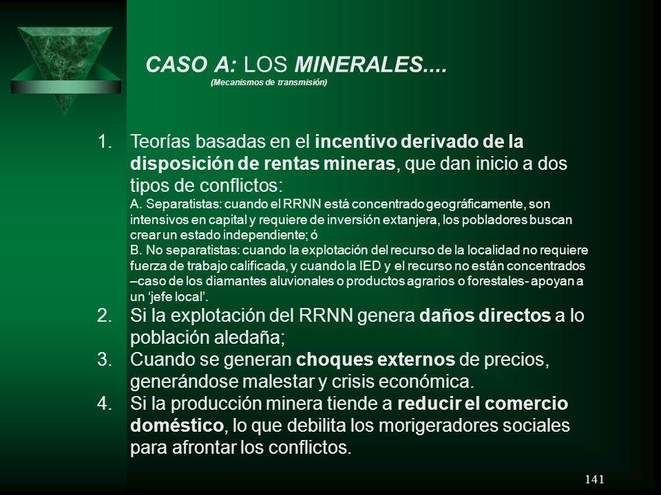 141 CASO A: LOS MINERALES.... (Mecanismos de transmisión) 1.Teorías basadas en el incentivo derivado de la disposición de rentas mineras, que dan inic