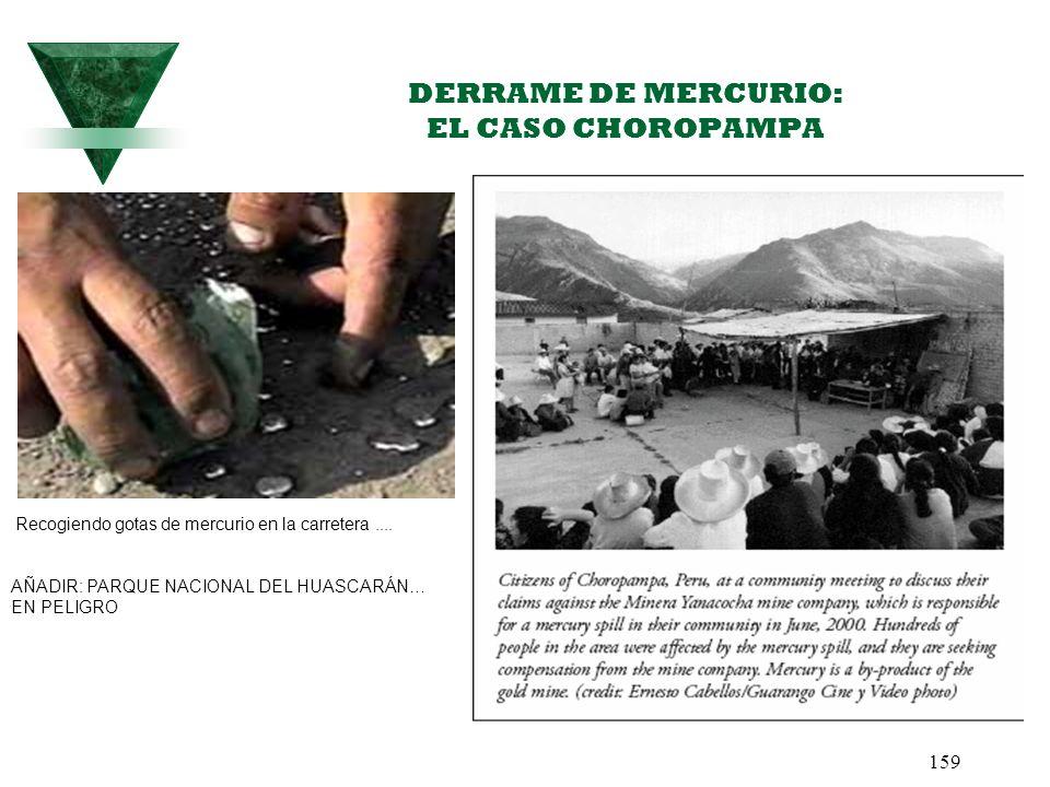 159 DERRAME DE MERCURIO: EL CASO CHOROPAMPA Recogiendo gotas de mercurio en la carretera.... AÑADIR: PARQUE NACIONAL DEL HUASCARÁN… EN PELIGRO