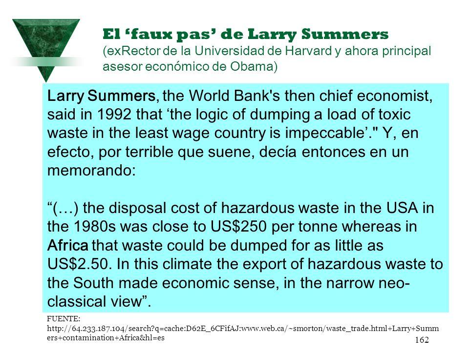 162 El faux pas de Larry Summers (exRector de la Universidad de Harvard y ahora principal asesor económico de Obama) FUENTE: http://64.233.187.104/sea