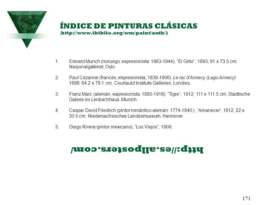 171 ÍNDICE DE PINTURAS CLÁSICAS ( http://www.ibiblio.org/wm/paint/auth/) 1.Edward Munch (noruego, expresionista: 1863-1944), El Grito, 1893; 91 x 73.5