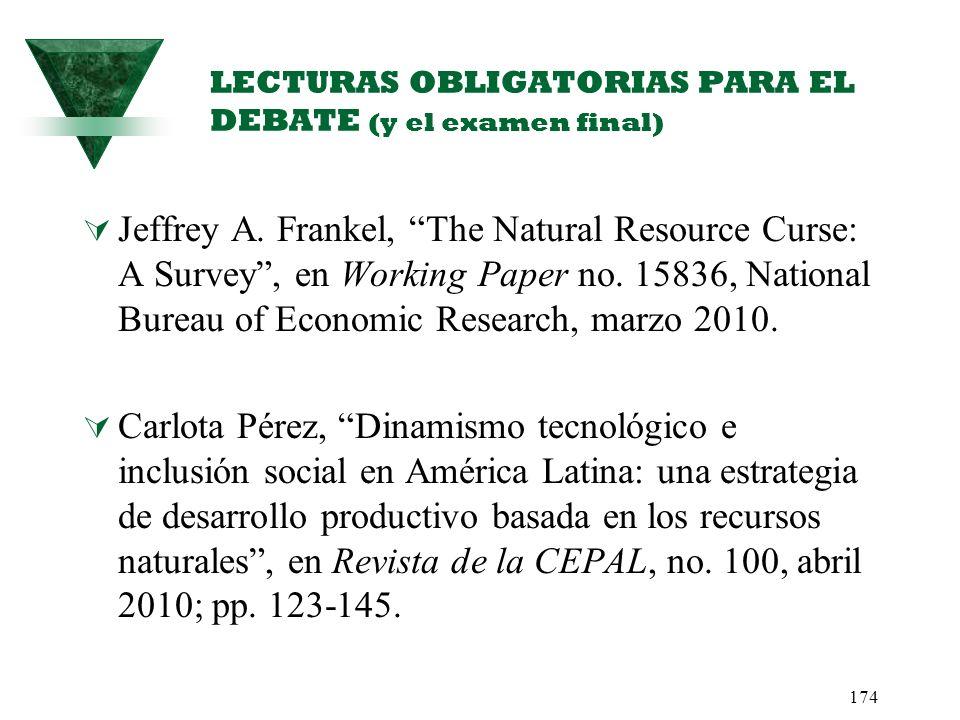174 LECTURAS OBLIGATORIAS PARA EL DEBATE (y el examen final) Jeffrey A. Frankel, The Natural Resource Curse: A Survey, en Working Paper no. 15836, Nat