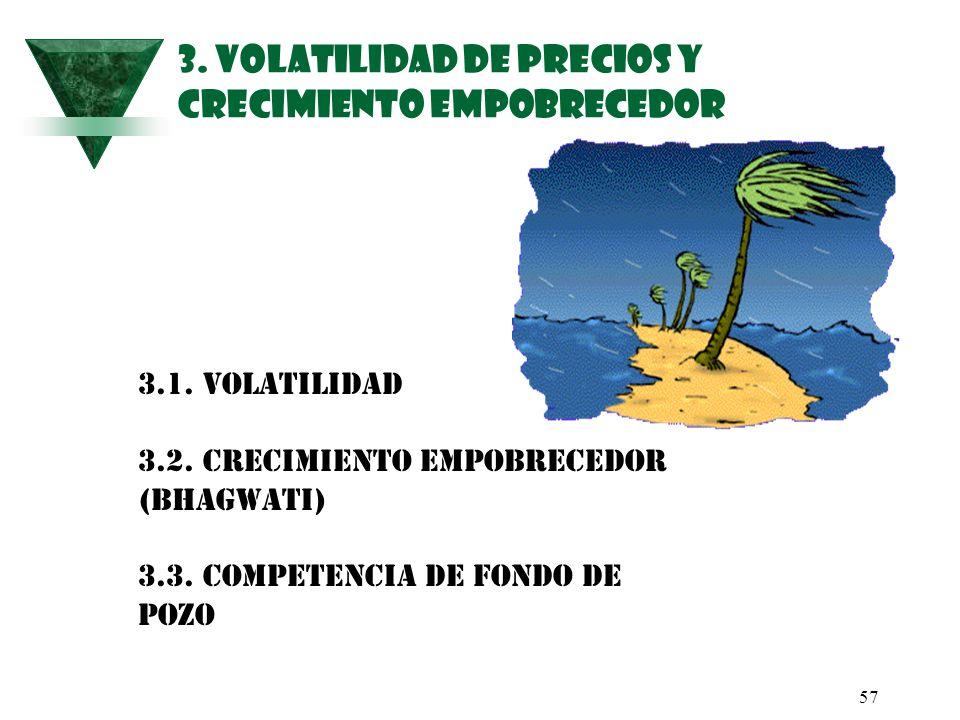 57 3. VOLATILIDAD DE PRECIOS Y CRECIMIENTO EMPOBRECEDOR 3.1. Volatilidad 3.2. Crecimiento Empobrecedor (Bhagwati) 3.3. Competencia de Fondo de Pozo