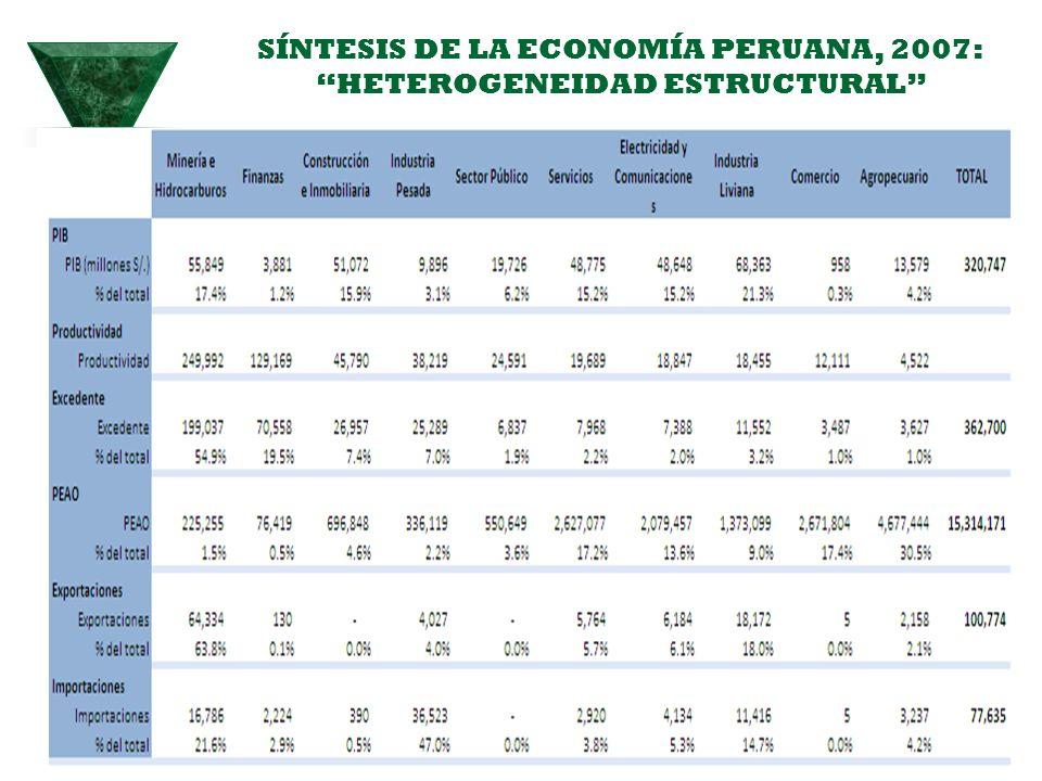 SÍNTESIS DE LA ECONOMÍA PERUANA, 2007: HETEROGENEIDAD ESTRUCTURAL 99