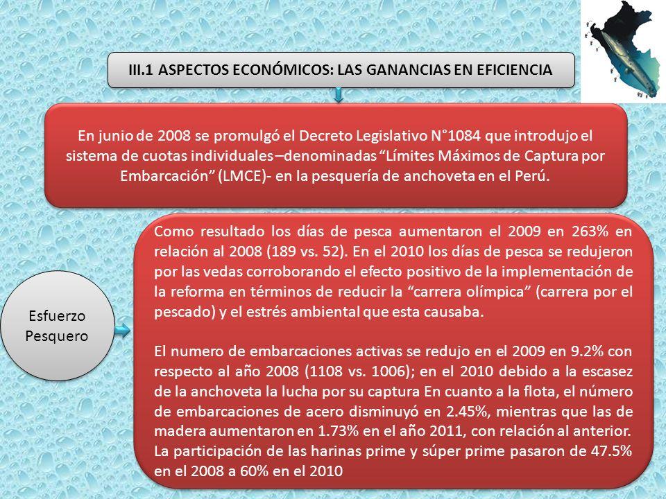 En junio de 2008 se promulgó el Decreto Legislativo N°1084 que introdujo el sistema de cuotas individuales –denominadas Límites Máximos de Captura por Embarcación (LMCE)- en la pesquería de anchoveta en el Perú.