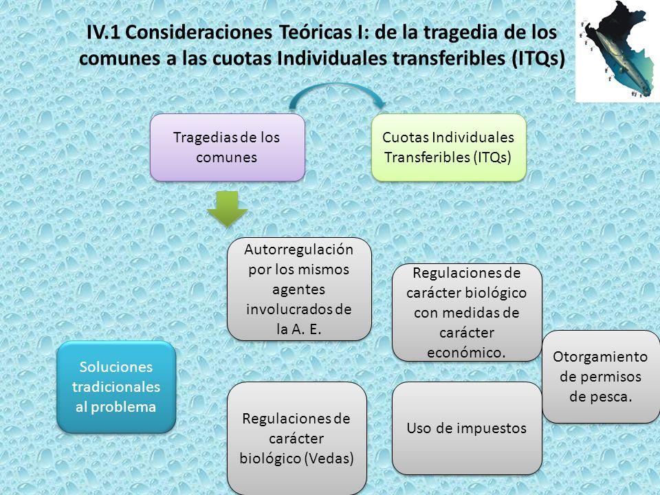 Tragedias de los comunes Cuotas Individuales Transferibles (ITQs) Soluciones tradicionales al problema Autorregulación por los mismos agentes involucrados de la A.