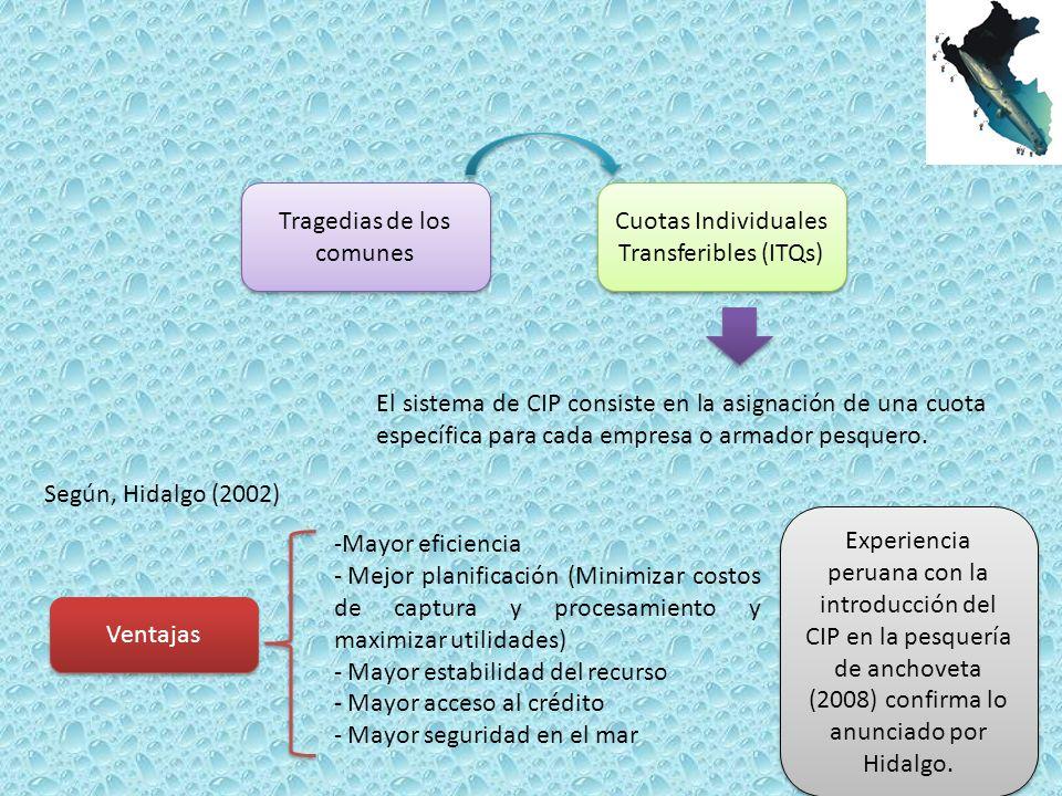 Tragedias de los comunes Cuotas Individuales Transferibles (ITQs) El sistema de CIP consiste en la asignación de una cuota específica para cada empresa o armador pesquero.
