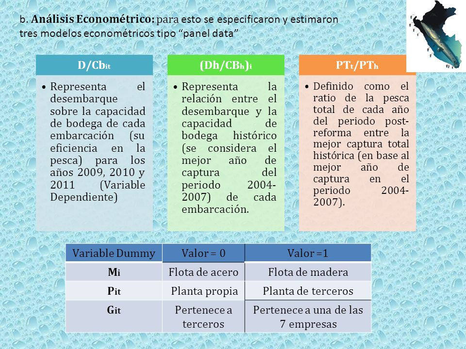 b. Análisis Econométrico: para esto se especificaron y estimaron tres modelos econométricos tipo panel data Variable DummyValor = 0Valor =1 MiMi Flota