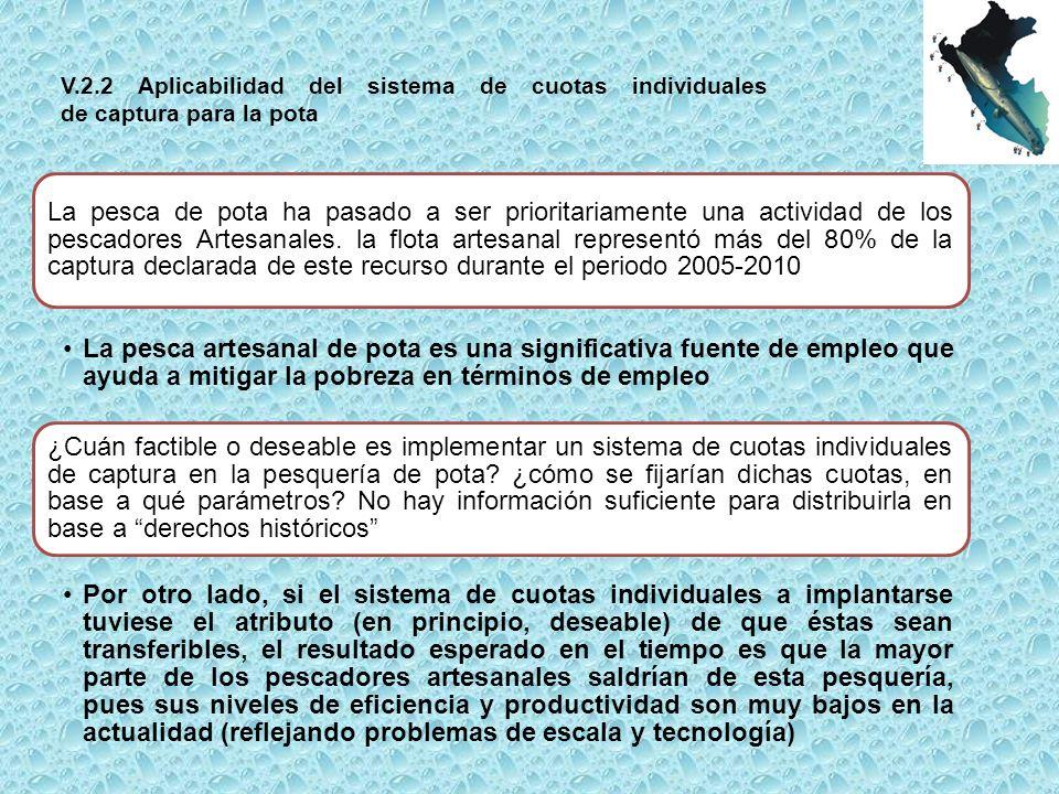 V.2.2 Aplicabilidad del sistema de cuotas individuales de captura para la pota La pesca de pota ha pasado a ser prioritariamente una actividad de los pescadores Artesanales.