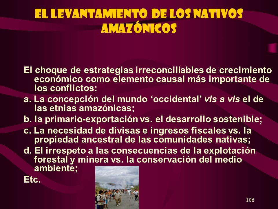 106 El levantamiento de los nativos amazónicos El choque de estrategias irreconciliables de crecimiento económico como elemento causal más importante