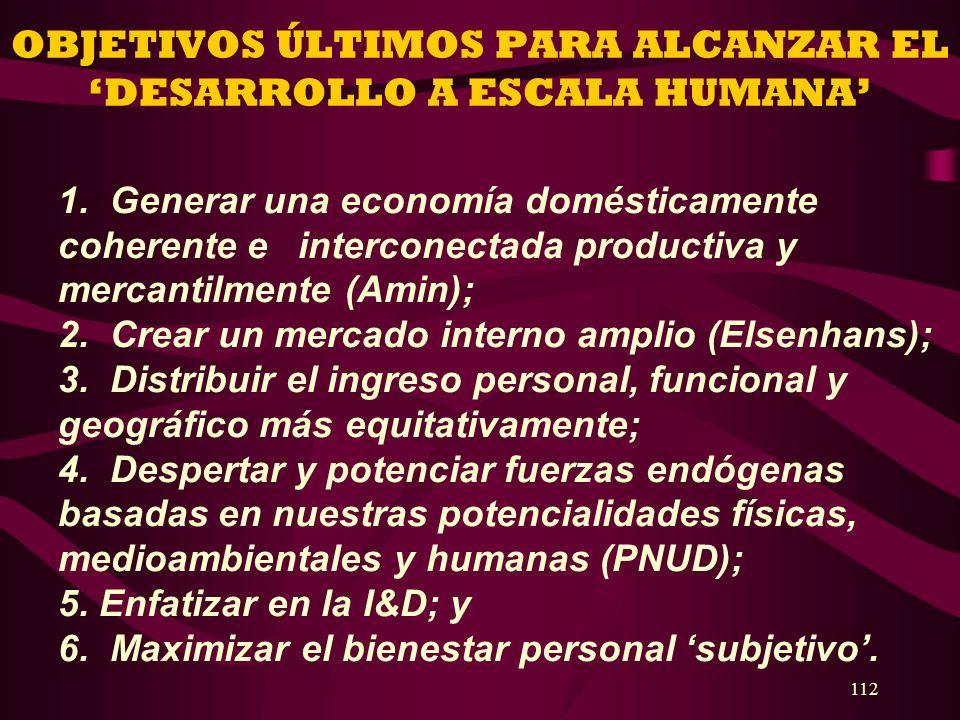 112 OBJETIVOS ÚLTIMOS PARA ALCANZAR EL DESARROLLO A ESCALA HUMANA 1. Generar una economía domésticamente coherente e interconectada productiva y merca