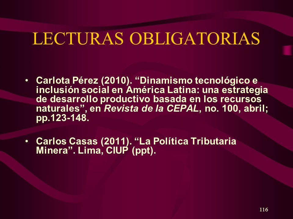 116 LECTURAS OBLIGATORIAS Carlota Pérez (2010). Dinamismo tecnológico e inclusión social en América Latina: una estrategia de desarrollo productivo ba
