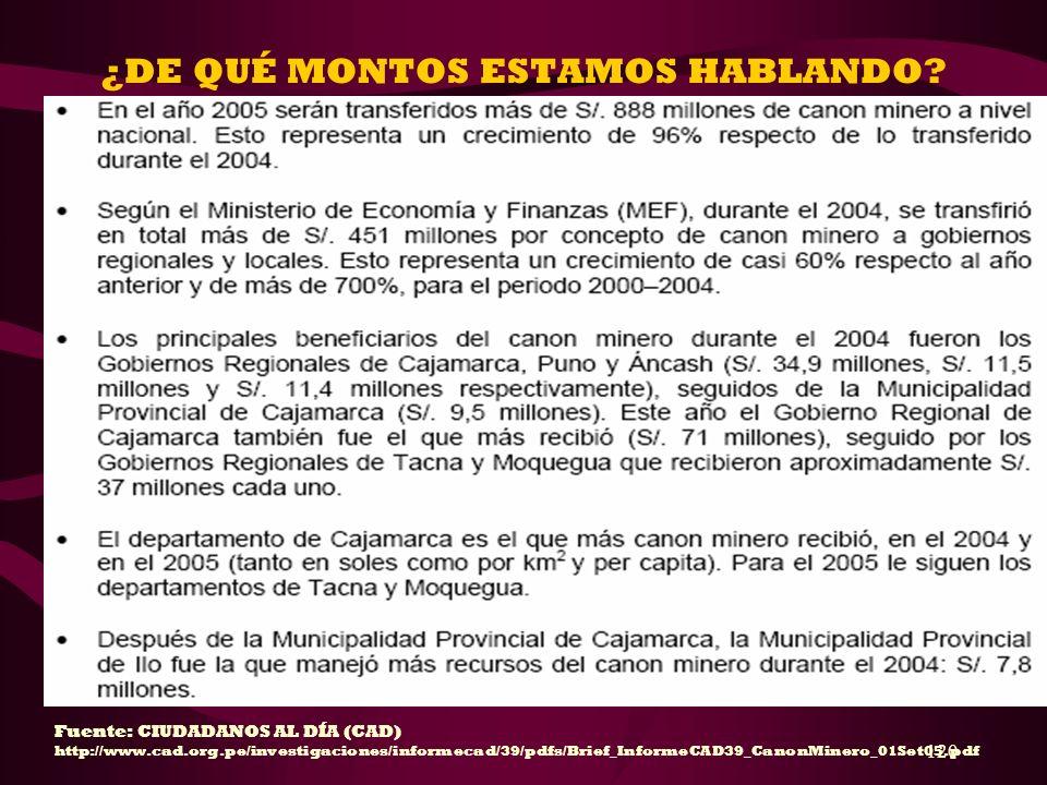 120 ¿DE QUÉ MONTOS ESTAMOS HABLANDO? Fuente: CIUDADANOS AL DÍA (CAD) http://www.cad.org.pe/investigaciones/informecad/39/pdfs/Brief_InformeCAD39_Canon