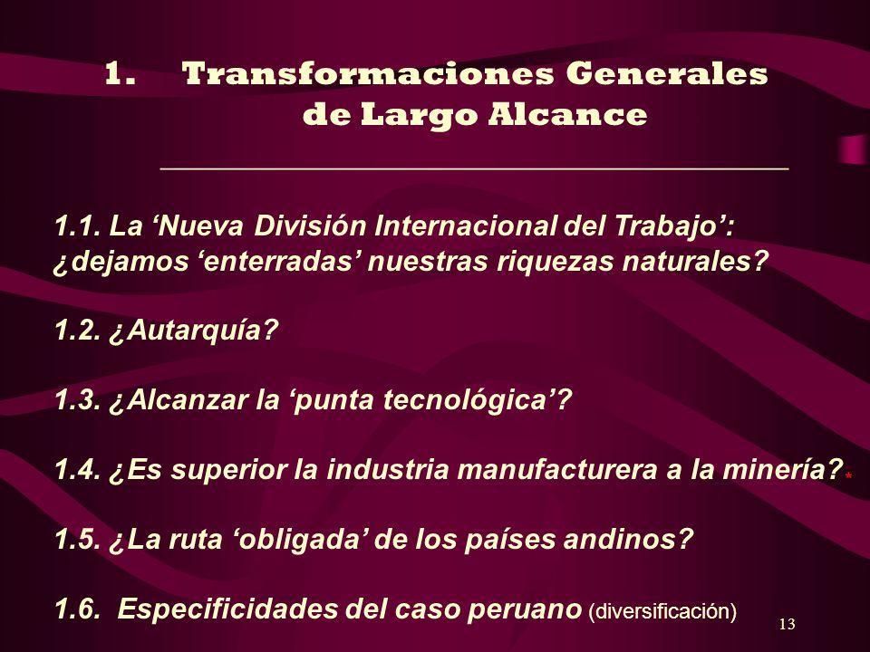 13 1.Transformaciones Generales de Largo Alcance _____________________________________ 1.1. La Nueva División Internacional del Trabajo: ¿dejamos ente