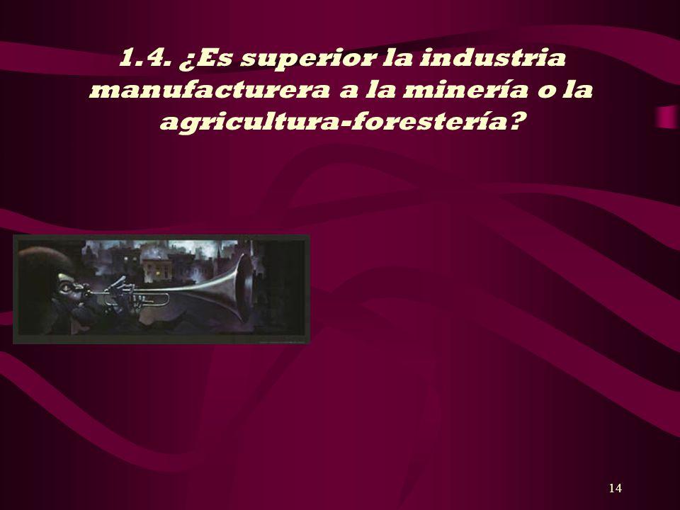 14 1.4. ¿Es superior la industria manufacturera a la minería o la agricultura-forestería?