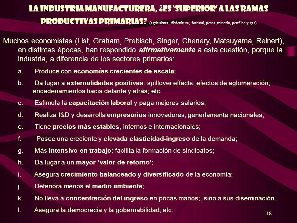 18 La industria manufacturera, ¿es superior a las ramas productivas primariaS? (agricultura, silvicultura, forestal, pesca, minería, petróleo y gas) M