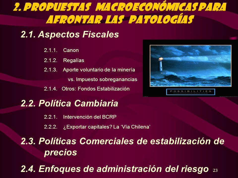 23 2. PROPUESTAS Macroeconómicas PARA AFRONTAR LAS PATOLOGÍAS 2.1. Aspectos Fiscales 2.1.1. Canon 2.1.2. Regalías 2.1.3. Aporte voluntario de la miner